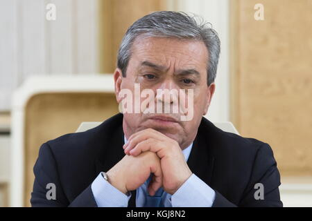 Magas, Russia. 7th Nov, 2017. Palestine's Ambassador to Russia Abdel Hafiz Nofal looks on during a meeting as a - Stock Photo