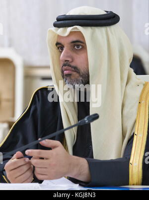 Magas, Russia. 7th Nov, 2017. Qatar's Ambassador to Russia Fahad Mohamed Abdullah Al Attiyah looks on during a meeting - Stock Photo