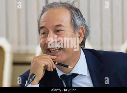Magas, Russia. 7th Nov, 2017. Morocco's Ambassador to Russia Abdelkader Lecheheb smiles during a meeting as a delegation - Stock Photo