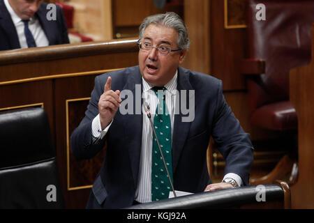 Madrid, Spain. 08th Nov, 2017. Spain«s Spain«s Interior Minister Juan Ignacio Zoido speaks during an ordinary session - Stock Photo