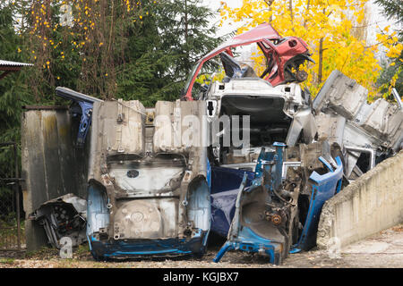 Scrap recycling. Osiek, Poland. 08 November 2017. In the area of Osiek metal objects are collected as part of the - Stock Photo