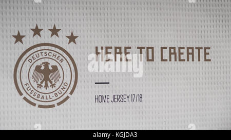 Berlin, Germany . 07th Nov, 2017. slogan, here to create, home jersey - dfb - presentation for the upcoming 2018 World Cup in Russia - WM 2018, The BASE Berlin, Uferhallen, Foto: Uwe Koch/fotobasis.org Credit: Uwe Koch/Alamy Live News