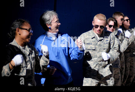 November 4, 2017: Secretary of the Air Force, Heather Wilson, enjoys pre-game festivities with the Air Force Academy - Stock Photo
