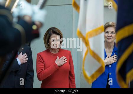 Washington DC, USA. 08th Nov, 2017. United States House Minority Leader Nancy Pelosi (Democrat of California), left, - Stock Photo