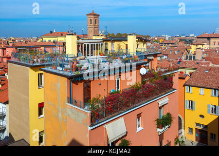 Aerial view of towers and roofs in Bologna, Italy - Stock Photo