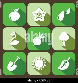 Vector set of gardening flat icons, collection of farming signs with shadow in green colors. - Stock Photo
