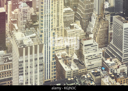 Retro stylized aerial picture of New York City Manhattan, USA. - Stock Photo