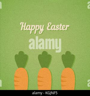 Vector background with Easter carrots bed, realistic paper effect color cardboard background - Stock Photo