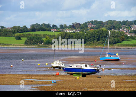 A view from 'the Point' at Exmouth across the Exe Estuary towards the National Trust property 'A La Ronde' - Stock Photo