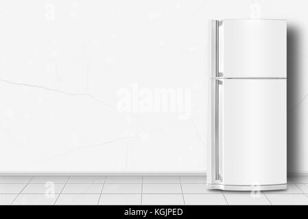 Major appliance - Refrigerator in front on a white wall background - Stock Photo