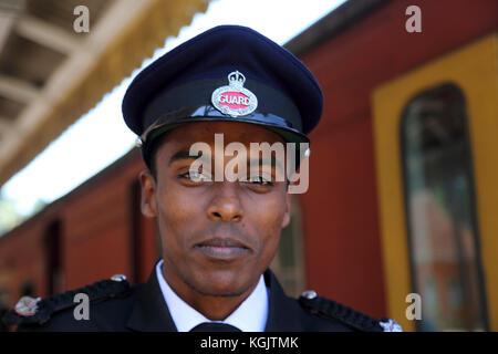 Peradeniya Junction Station Kandy Central Province Sri Lanka Portrait of Guard - Stock Photo