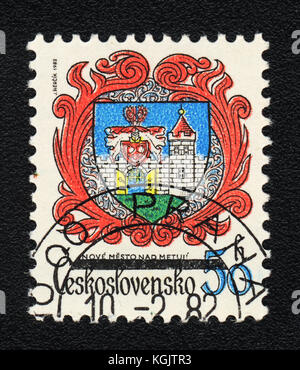 A postage stamp printed in CZECHOSLOVAKIA  shows Coat of Arms of Nove Mesto nad Metuzhi, circa 1982 - Stock Photo