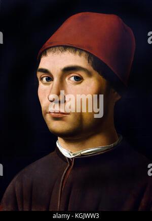 Portrait of a Man about 1475-6 Antonello da Messina ( Antonello di Giovanni di Antonio )  active 1456 - 1479  Italian - Stock Photo
