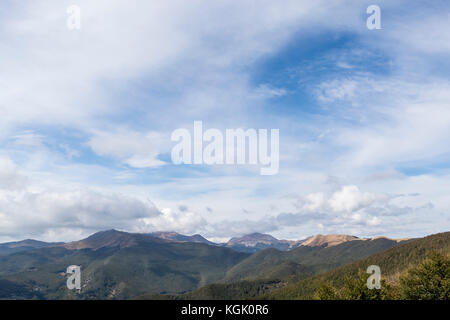 Mountain views of the Alps from the San Pellegrino in Alpe Pass, province of Lucca, Italy - Stock Photo