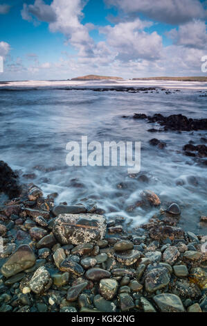 Poppit sands view towards Cardigan island on the west coast of wales near Cardigan - Stock Photo