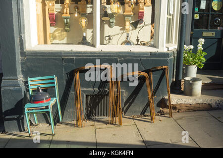 Second hand goods on sale outside a shop UK - Stock Photo