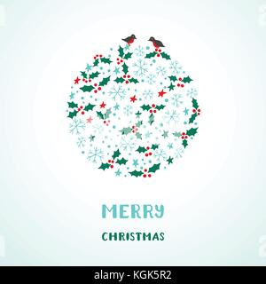 Christmas card with snowflakes, stars, birds and holly - Stock Photo