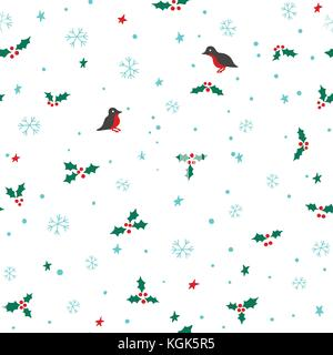 Seamless christmas pattern with snowflakes, stars, holly and birds - Stock Photo