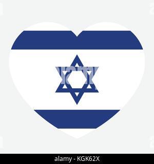 Israel flag in the heart, Israeli flag, vector illustration. - Stock Photo