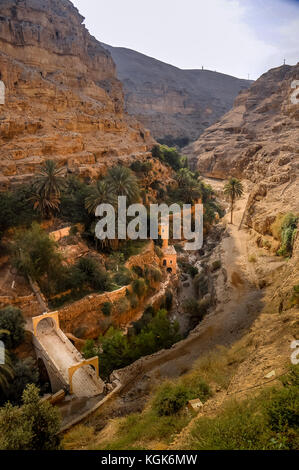 Orthodox Monastery of St. George in the lower valley Kelt in the Judean desert in Palestinian Authority - Stock Photo
