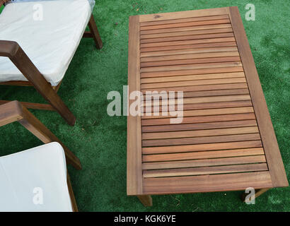 design and garden furniture table chairs top view stock photo