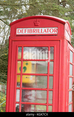 Defibrillator in red telephone box in remote location - Stronachlachar, Loch Lomond and the Trossachs National Park, - Stock Photo