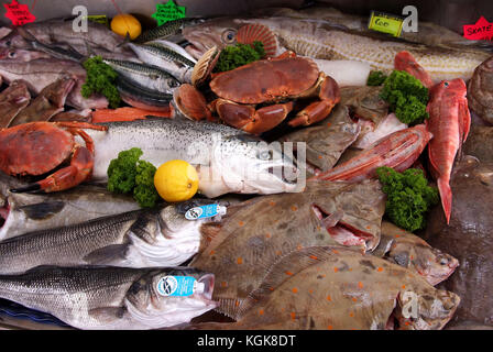 A selection of fish and shellfish on a fishmongers slab. - Stock Photo