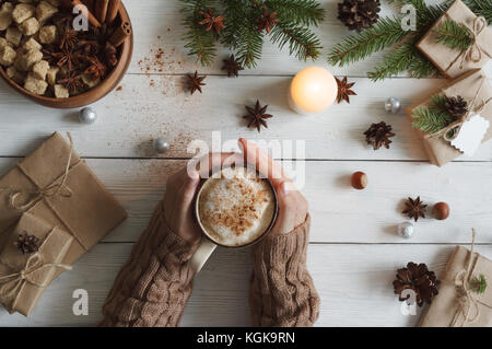 cup of coffee and hands - Stock Photo