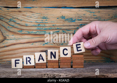 France. Wooden letters on the office desk, informative and communication background - Stock Photo