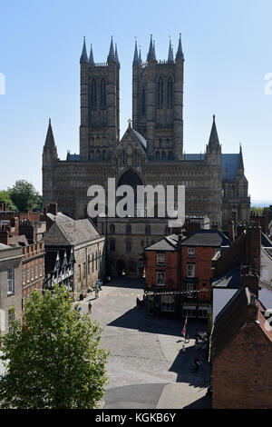 View of Lincoln Cathedral from the Castle Walls - Stock Photo