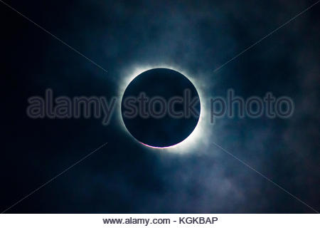 A full solar eclipse reached totality. - Stock Photo