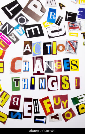 A word writing text showing concept of Action Changes Things made of different magazine newspaper letter for Business - Stock Photo
