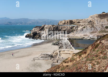 A view of the Sutra Baths at Point Lobos near Lands End. - Stock Photo