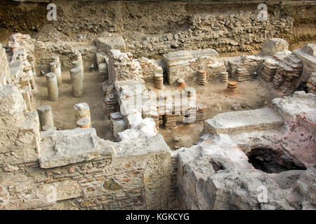 ancient greek ruins founded in athens near metro station - Stock Photo