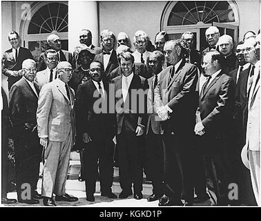 Photograph of a meeting at the White House in Washington, DC with Civil Rights leaders on June 22, 1963.  Front Row:  Martin Luther King, Jr., Attorney General Robert F. Kennedy,  Roy Wilkins, Vice President Lyndon Baines Johnson,  Walter P. Reuther,  Whitney M. Young, A Philip Randolph. Second Row, Second From Left:  Rosa Gragg.  Top Row, Third From Left: James Farmer. Credit: National Park Service via CNP /MediaPunch