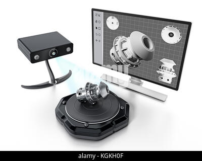 Fictitious 3D scanner isolated on white background. 3D illustration. - Stock Photo