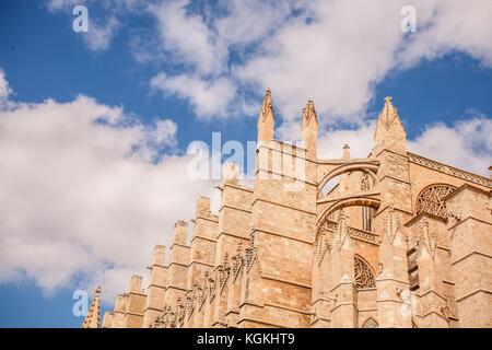 Cathedral Le Seu in Palma de Mallorca, a popular tourist destination - Stock Photo