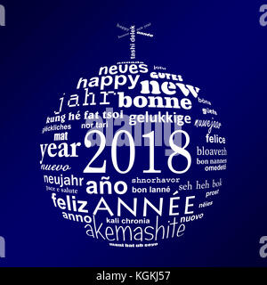 2018 new year multilingual text word cloud greeting card in the shape of a white christmas ball on blue background - Stock Photo