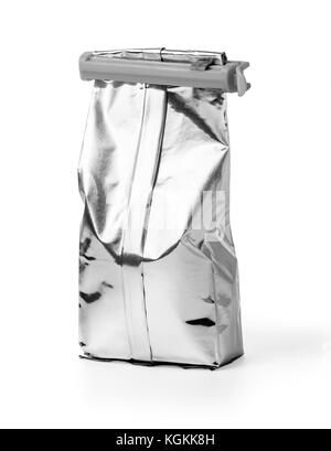 Aluminum bag isolated on white background. with clipping path - Stock Photo