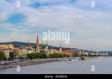 Buda district in Budapest, Hungary. Seen from Chain Bridge on September 2017 - Stock Photo
