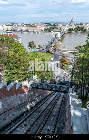 Budapest Castle Hill Funicular Railway and Chain Bridge on a sunny day in Hungary - Stock Photo