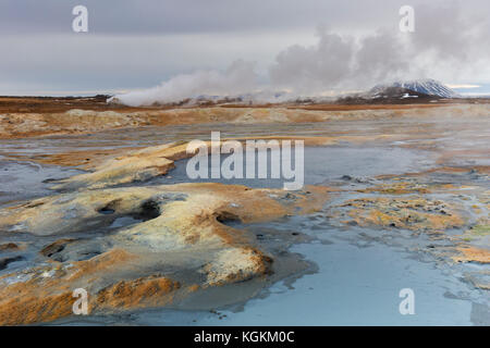 Hot spings and steaming fumaroles at Hverir, geothermal area near Námafjall, Norðurland eystra / Nordurland eystra, - Stock Photo