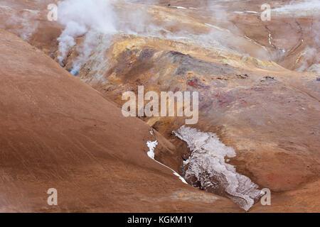 Hverir, geothermal area near Námafjall, Norðurland eystra / Nordurland eystra, Iceland - Stock Photo