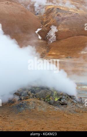 Steaming fumarole at Hverir, geothermal area near Námafjall, Norðurland eystra / Nordurland eystra, Iceland - Stock Photo