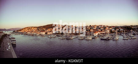 Panoramic view of trogir old town in croatia at evening - Stock Photo