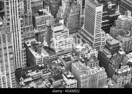 Black and white aerial picture of New York City, USA. - Stock Photo