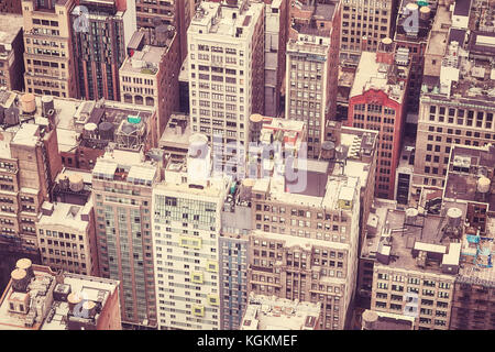 Vintage toned aerial picture of downtown New York, USA. - Stock Photo