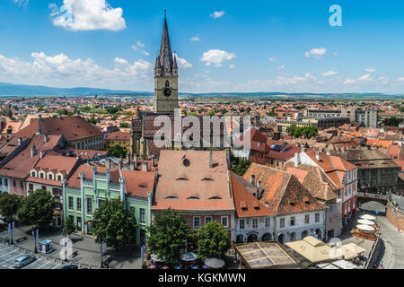 Overview of Sibiu, view from above, Transylvania, Romania, July 2017 - Stock Photo