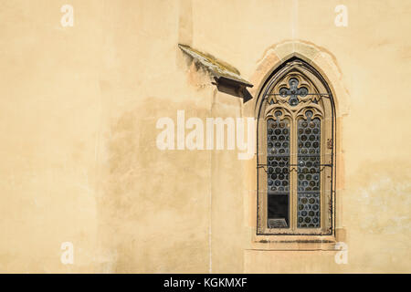 Windows of an old gothic cathedral, Sibiu, Romania - Stock Photo