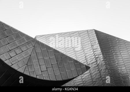 Two ultra modern looking sections of the Lowry shopping centre in Manchester pictured from the outside. - Stock Photo